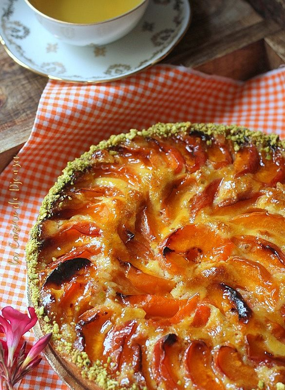 Tarta de albaricoque pistacho y almendra   Cocinar con douza