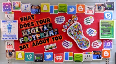 What does your digital footprint say about you? Great digital citizenship bulletin board!