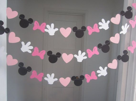 Minnie Mouse Inspired Paper Garland Banner Decorations Birthday Clubhouse  Black White 2 Shades Of Pink On