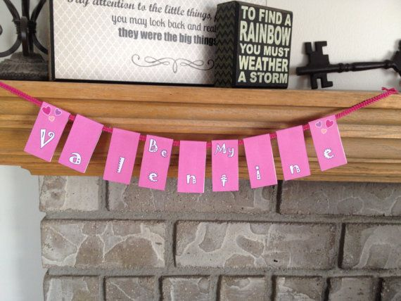 Pink Valentines Banner Decoration Party by TrendyDesignerPrints