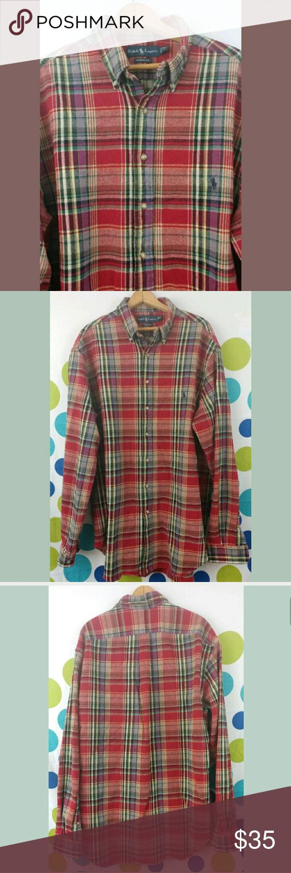Ralph Lauren Red Plaid XLT Flannel Hello and thank you for checking out my items!  Mens Ralph Lauren Flannel Button Down Shirt  Size XLT  100% Cotton   Red plaid   27 inches across chest from pit to pit  31 inches from shoulder down to end Ralph Lauren Shirts Casual Button Down Shirts