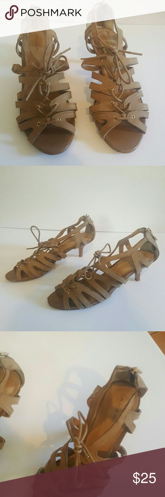 TAHARI DARA 7M WOMENS LOW HEEL SANDALS TAN TAHARI DARA SIZE 7 WOMENS SHOES STRAPPY LACE UP TIE SANDALS TAN NUBUCK GOLD ZIP BACK ZIP OPENTOE DRESS OR CASUAL Tahari Shoes Sandals
