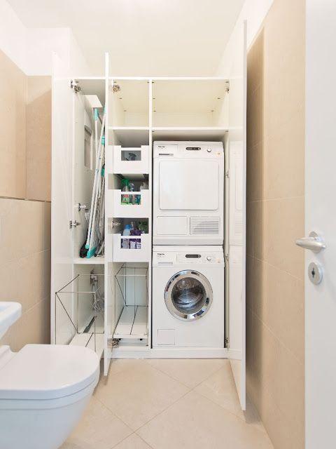 Miele Waschmaschine und Miele Wäschetrockner im Einbauschrank übereinander eingebaut
