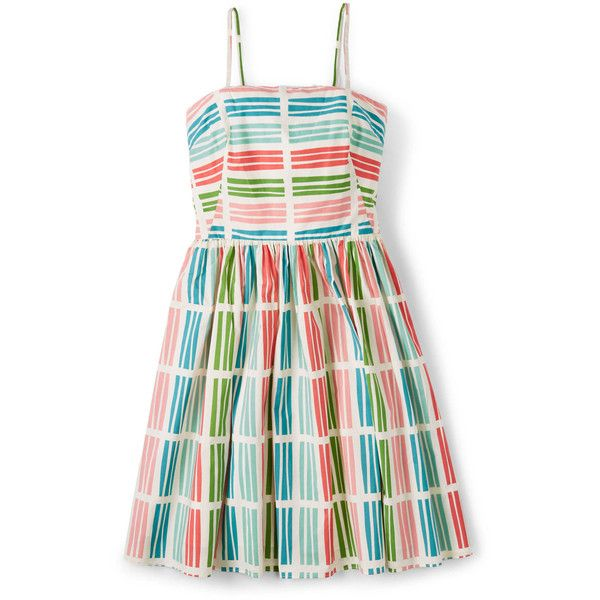 Boden Sandra Sundress ($83) ❤ liked on Polyvore featuring dresses, multi retro stripe, striped cotton dress, sundress dresses, boden dresses, white dress and white cotton sundress