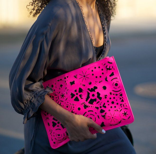 Neon-pink Hollow Out Handbag neon pink clutch bag www.loveitsomuch.com