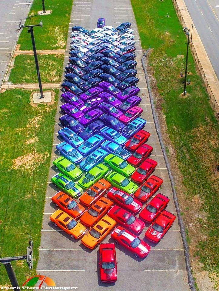 Une photo prise pendant un meeting de propriétaires de voitures Dodge Charger. Sur un parking, les voitures ont été garées par couleur pour réaliser un joli dégradé