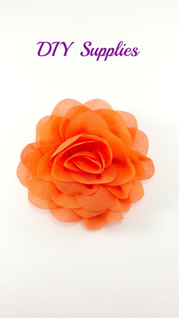 "3"" Orange silk rose fabric flower - Rosette silk flower for headbands - Wedding hair clip flower - Wholesale chiffon flowers"