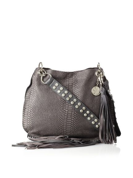 Stella & Jamie Mona Embossed Leather Fringe Shoulder Bag 111