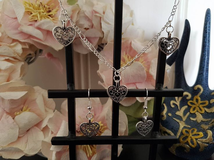 Filigree Heart Pendant Set by LykoCrafter on Etsy