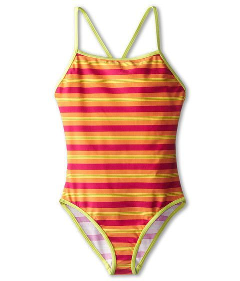 Patagonia Swimwear Pink Striped Big Girls Kids T-Back One-Piece Swimsuit Size XS