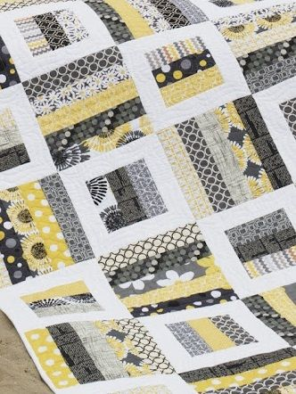 contemporary yellow and gray rail fence quilt