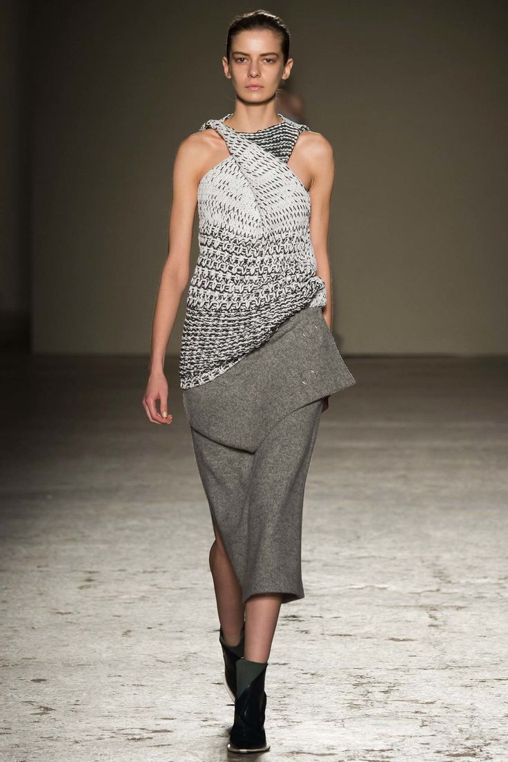 Gabriele Colangelo | Fall 2015 Ready-to-Wear | 26 Monochrome sleeveless sweater and grey midi skirt