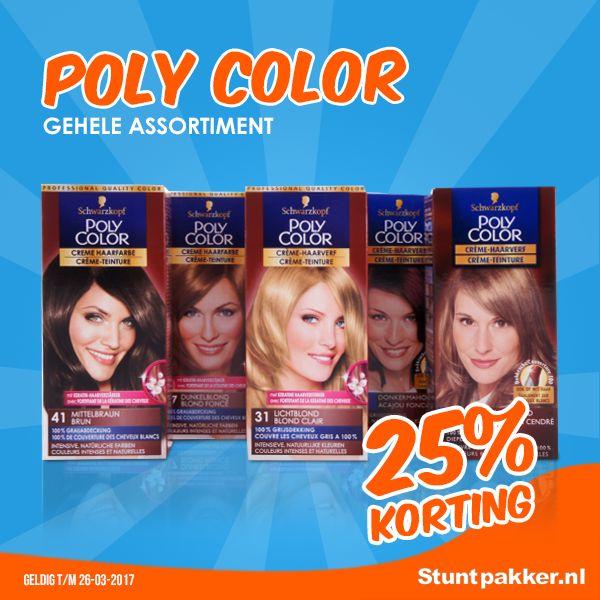 25% KORTING op Poly Color Haarverf!  Poly Color is een permanente haarkleuring met 100% grijsdekking. Die kleuring is verrijkt met Keratine haarversterker waardoor het haar beter beschermd is tijdens het kleuren.   Bekijk ons ruime assortiment op www.stuntpakker.nl