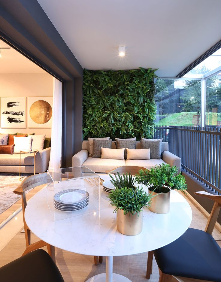 Open porch with greenwall