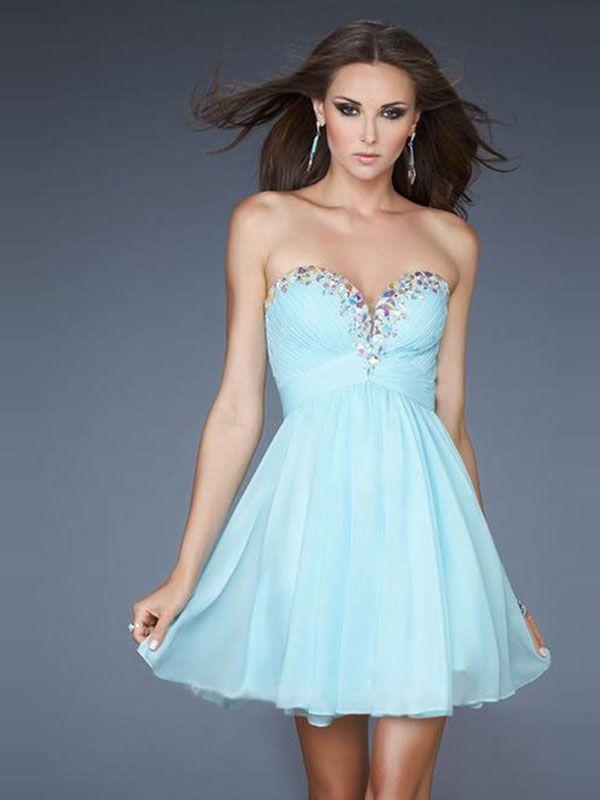 2014 Style A-line Sweetheart Sleeveless Short/Mini Cute Chiffon Homecoming Dresses #WX971