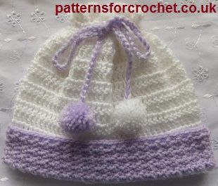 Pull on hat free baby crochet pattern from http://www.patternsforcrochet.co.uk/baby-pull-on-hat-usa.html #patternsforcrochet #freebabycrochetpatterns