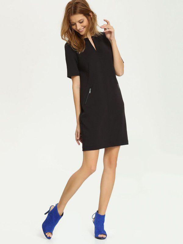 sukienka damska gładka czarna - SSU1471 TOP SECRET