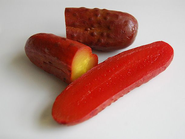 Koolickles.  A down-home Mississippi Delta delicacy.  In this case, you use whole dill pickles and Kool-Aid and sugar.  That's it.  Don't start with sweet pickles.