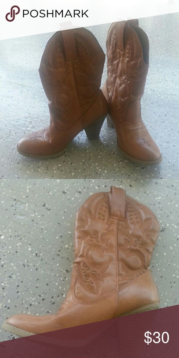 Cow girl boots Cow girl boots size 8 worn once for a couple hours not pink  just for exposure PINK Victoria's Secret Shoes Ankle Boots & Booties