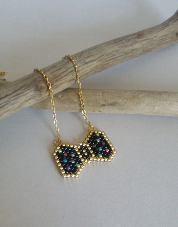 Necklace, ras neck, jewel woven beads miyuki, chain, gold, black, peas, fluo, BowTie, retro style
