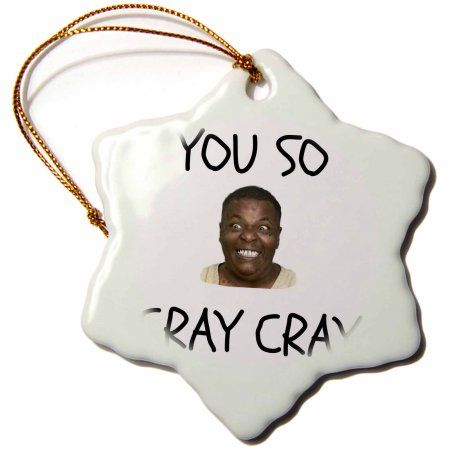 3dRose cray cray, black letters on white background with funny face picture, Snowflake Ornament, Porcelain, 3-inch