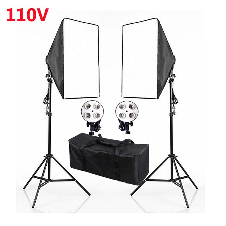 >> Click to Buy << Photography Studio Continuous Soft box Lighting Kits 110V E27 4 Socket Head+50x 70cm Softbox*2+Light Stand*2 Photo Light Set #Affiliate