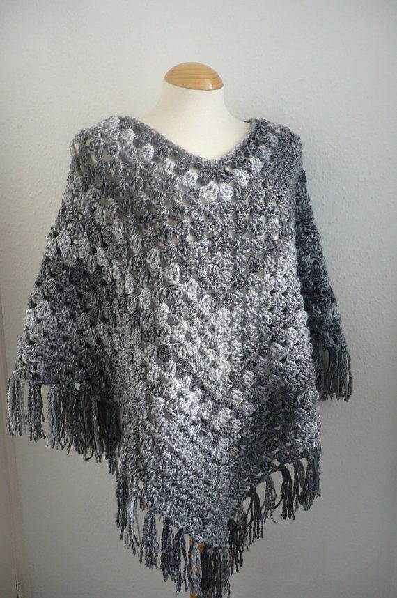 Womens Poncho in Shades of Grey Ready to Ship by Aalexi on Etsy