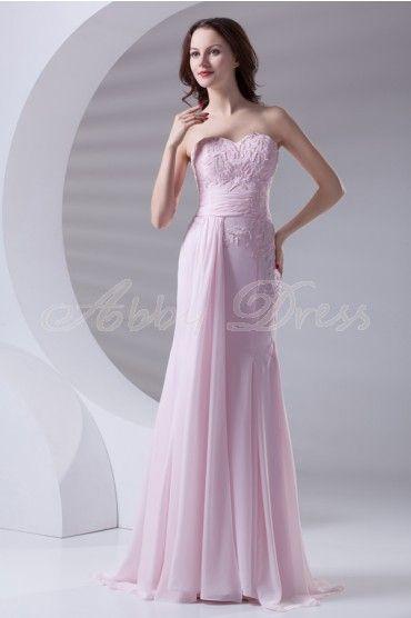Mermaid Sweetheart Backless Beading Applique Draped Floor-length Chiffon Dress