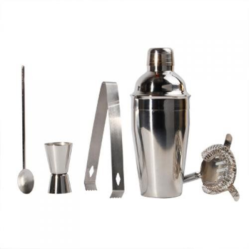 Set of 5 Stainless Steel Cocktail Shaker Mixer Set