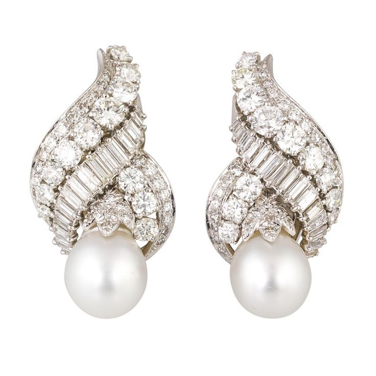 DAVID WEBB Diamond Pearl Platinum Earrings | From a unique collection of vintage clip-on earrings at http://www.1stdibs.com/jewelry/earrings/clip-on-earrings/