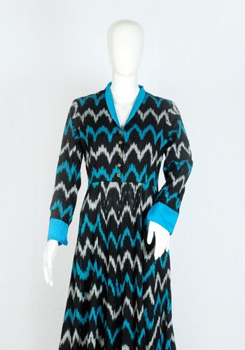 Black and Blue Ikat Dress – Desically Ethnic
