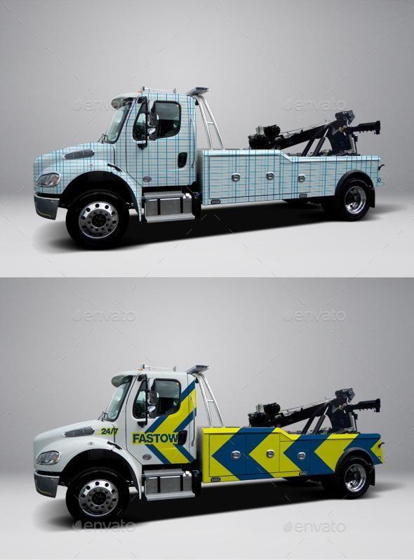 2013 Freightliner Heavy Tow Truck Wrap Mockup Psd Template VehicleMockup BestDesignResources