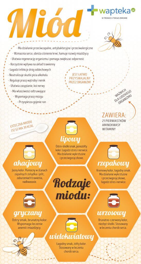Infografika o rodzajach i właściwościach miodu