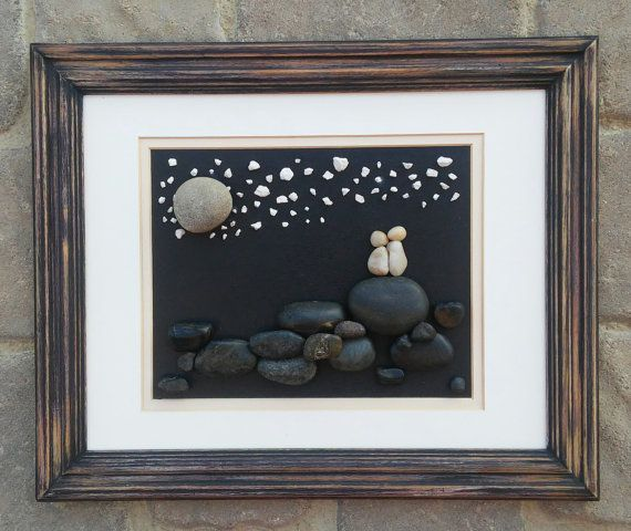 """Pebble Art (Sweet couple in the outdoors-star gazing).  Set in an """"open"""" 8x10 frame"""