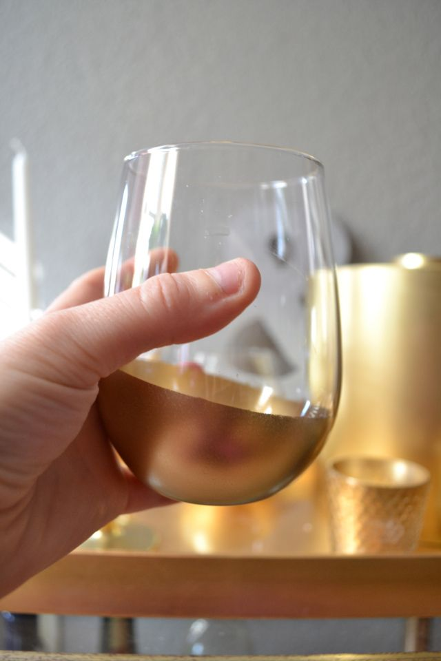Gold Spray paint on stemless wine glasses