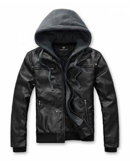 Fancy - Men's PU Leather Jacket with Removable Hood
