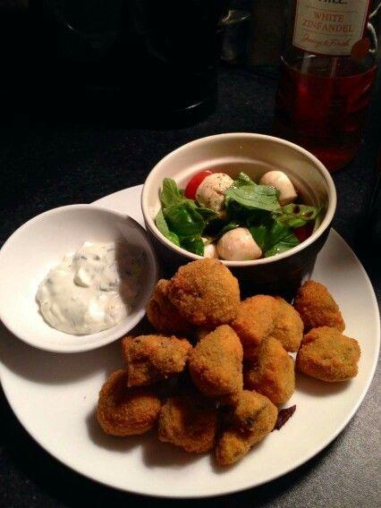 Crumbed button mushrooms with homemade tartar sauce and caprese salad x