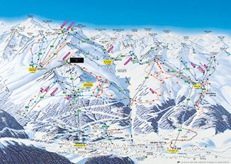 Interactive ski trail map of the Sölden Ski Area, showing all open mountain lifts and ski runs. Ski Area Panorama Map/Ski Trail Map Sölden for downloading in printable quality.