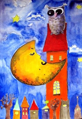 A moon with owl   by Kamila Guzal-Pośrednik