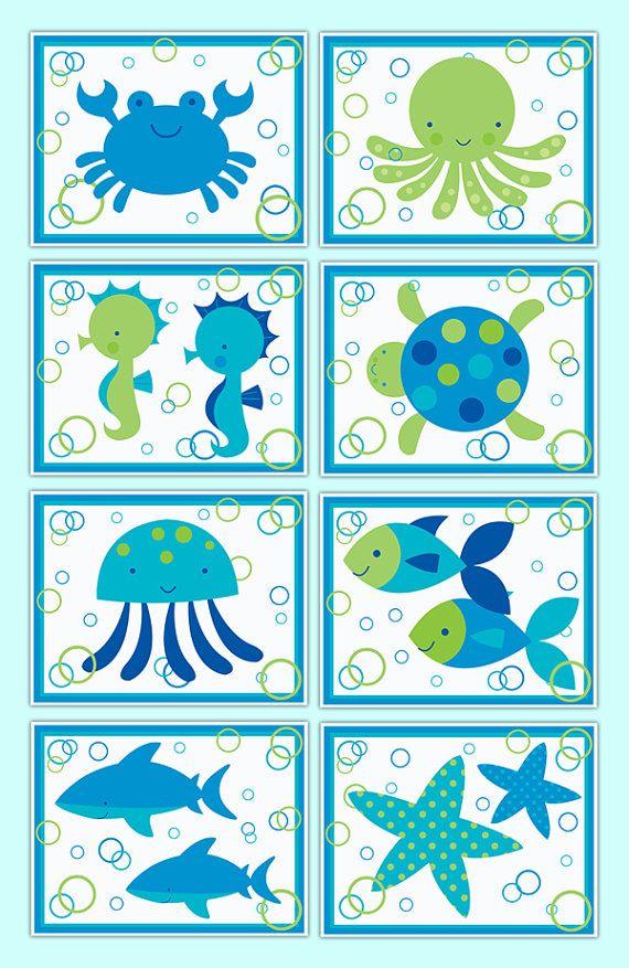SEA LIFE NURSERY Prints Wall Art Boy Ocean Creatures Bathroom