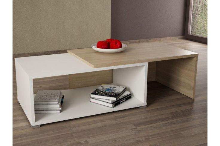 Konferenční stolek - Tempo Kondela - Dron (dub sonoma + bílá)