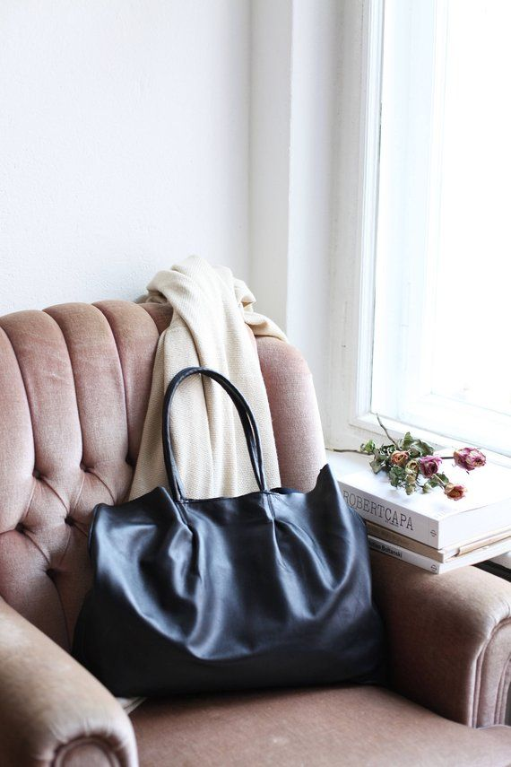 Black leather tote bag Black oversized market tote bag | Minimal leather bag | Large leather handbag | The Berliner Tote Bag in Black