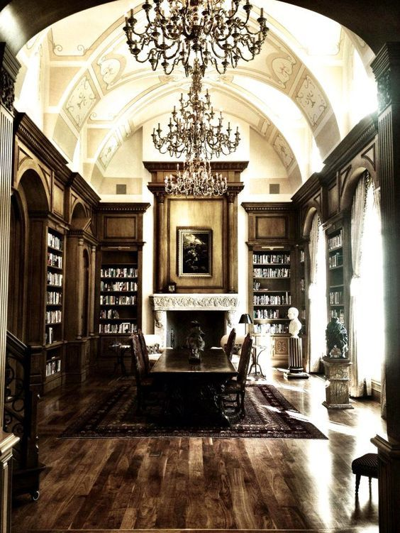 Vintage, dream home libraries with built in bookshelves and chandeliers galore!