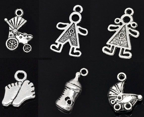 DoreenBeads 30 Mixed Silver Tone Baby Charms Pendants (B08081), yiwu