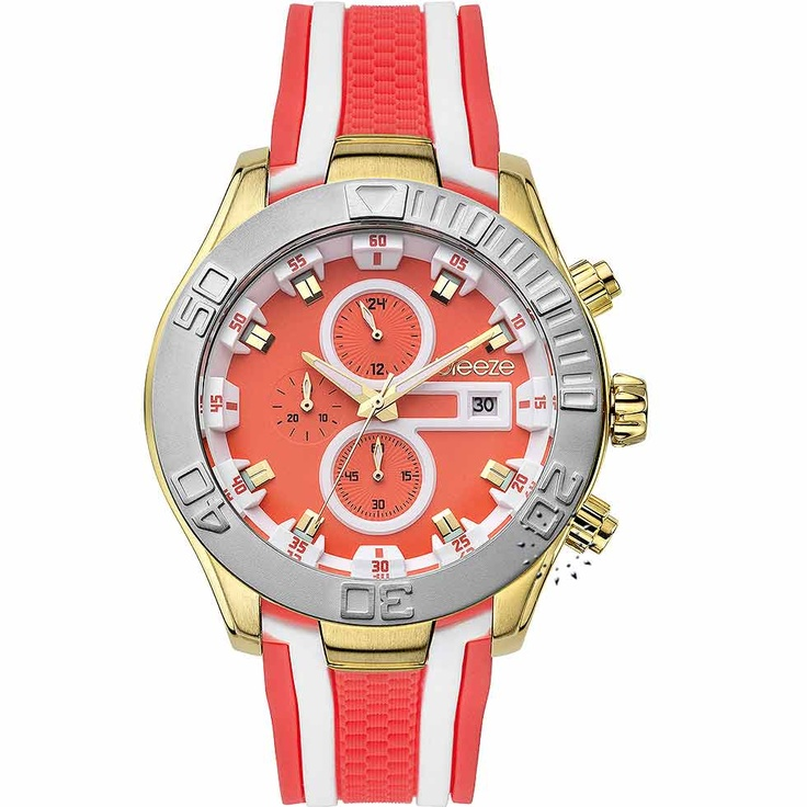 BREEZE Milkshake Stripes Chrono Orange Rubber Strap Μοντέλο: 110081.4 Τιμή: 195€ http://www.oroloi.gr/product_info.php?products_id=30577