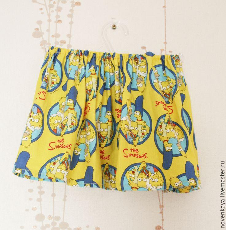 Купить Юбка из хлопка Симпсоны - желтый, хлопковая юбка, детская юбка, детская одежда
