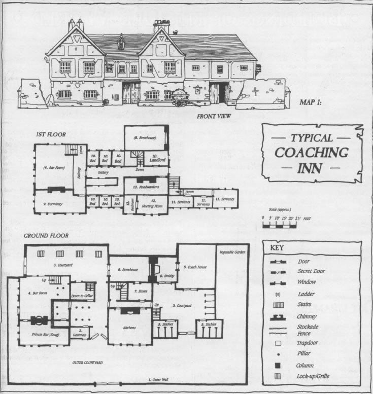 Typical coaching inn tavern pub architecture map for Fantasy house plans