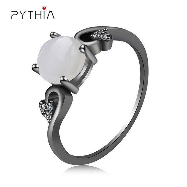 Pythia Elegant Opal Claddagh Ring Fashion CZ Wedding Jewelry Black Gold Filled Engagement Promise Rings Retro Style Steel Ring