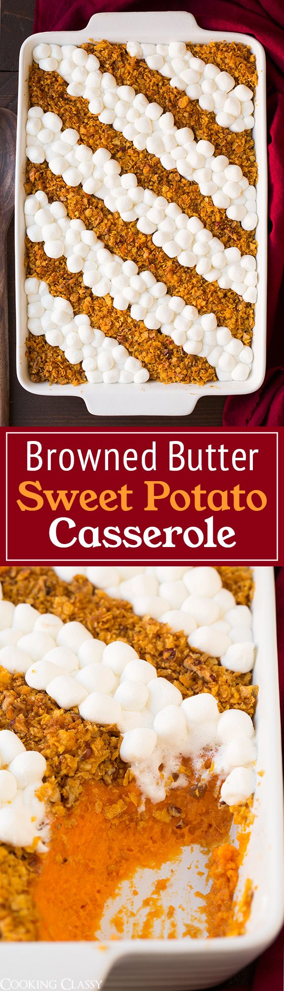 Browned Butter Sweet Potato Casserole - my go to sweet potato casserole every Thanksgiving! Always a hit!