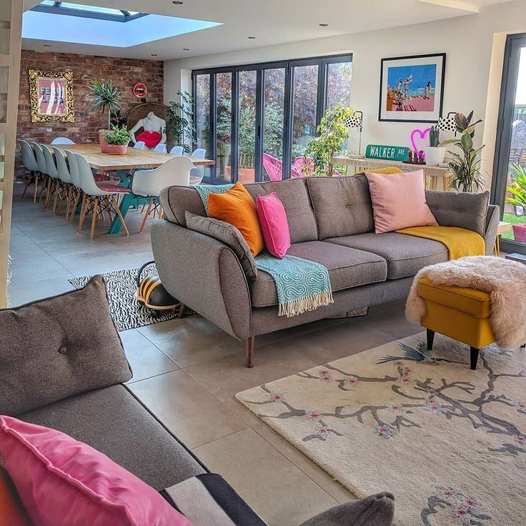Living Room Ideas Colour House Tour A Fabulously Fun Colourful Family Home Col Colourful Living Room Open Plan Living Room Open Plan Kitchen Living Room